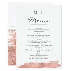 Modern Rose Gold Brushstroke Wedding Menu Card - minimal gifts style template diy unique personalize design