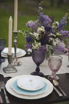 Purple place setting | Magnolia Street Photography | see more on: http://burnettsboards.com/2014/09/blackberry-green-wedding-inspiration/ #BlushFloralDesignStudio