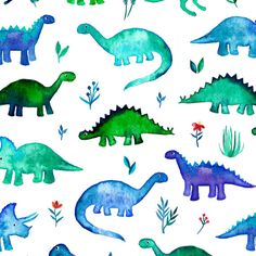Watercolor Dinosaur Fabric  Tiny Dinos In Blue And от Spoonflower