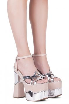Jeffrey Campbell Shoes AMBROSE Platforms in Silver Mirror Nude
