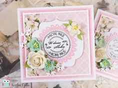 Wedding card with paper flowers, spellbinders die and Studio75pl papers. handmade cards, cardmaking, kartka, scrapbooking
