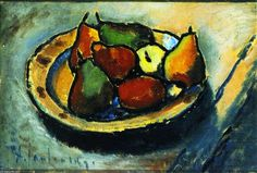Still LIfe with Pears (also known as Still LIfe with Fruit), Oil On Panel by Alexej Georgewitsch Von Jawlensky (1864-1941, Russia)