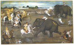 Prince Awrangzeb facing a maddened elephant named Sudhakar 17th