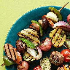 Balsamic-glazed kielbasa skewers. Perfect for a summer evening dinner.