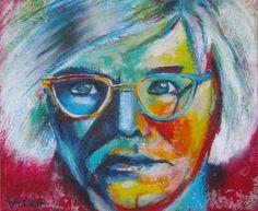 Andy Warhol: Mit Acryl eingefärbte Spachtelmasse auf Leinwand Andy Warhol, Portraits, Painting, Palette Knife, Canvas, Head Shots, Painting Art, Paintings, Paint