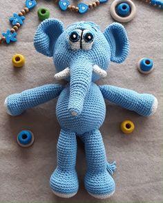 Crochet Patterns For Beginners, Crochet Basics, Crochet Patterns Amigurumi, Amigurumi Toys, Knitting Patterns, Cute Elephant, Crochet Elephant, Elephant Pattern, Stuffed Elephant