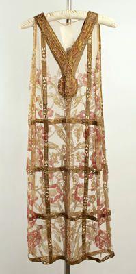Callot Soeurs Evening Dress ca. 1924 cotton, metallic thread, glass