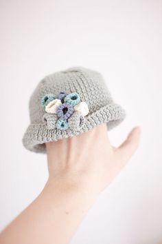 Modern Cotton Baby  Girl Hat for Spring and Summer - First Flowers - 0 to 6 Months - Made to Order - OOAK