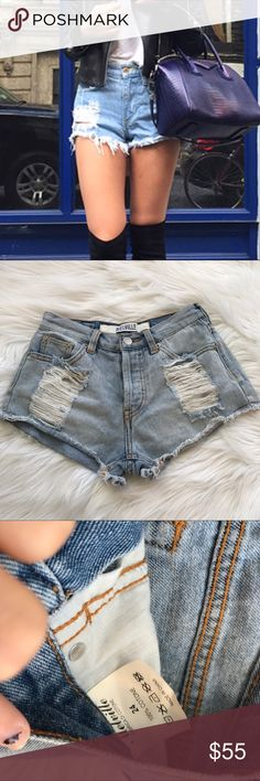 Brandy Melville distressed hi rise denim shorts Super cute! Open to offers! Brandy Melville Shorts Jean Shorts
