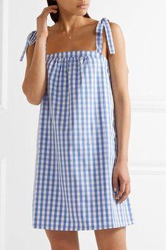 Three J NYC - Stella Gingham Cotton-poplin Nightdress - Blue