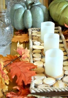 Fall wood slice accent tray with rope trim how to make from MichaelsMakers Jennifer Rizzo