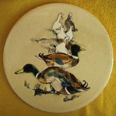 Vintage Decorative Circular Ceramic Tile by H & R Johnson Ltd Mallard Ducks