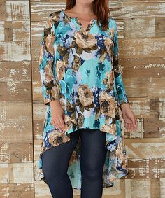 This Teal Floral Hi-Low Tunic - Plus is perfect! #zulilyfinds