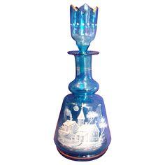 Bohemian Czech Blue Art Glass Perfume Bottle White Enameled Mary Gregory Village Scene w Crenellated Stopper c 1885 Antique Glassware, Antique Perfume Bottles, Vintage Bottles, Bottle Vase, Glass Bottles, Bottle Painting, Decoration, Blue Art, Green Art