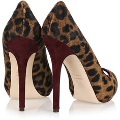 Alexander McQueen Leopard-print calf hair pumps ($345) ❤ liked on Polyvore