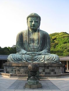 The Great Buddha - Japan  The Great Buddha of Kamakura is a monumental outdoor bronze statue of Amitābha Buddha located at the Kōtoku-in Temple in Kamakura, Kanagawa Prefecture, Japan. The statue is approximately 13.35 meters tall including the base[7] and weighs approximately 93 tonnes. The statue is hollow, and visitors can view the interior.