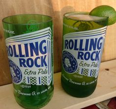 Awesome Upcycled Rolling Rock Beer Bottle Glasses made by ConversationGlass, $30.00