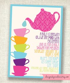 Mad Tea Baby Shower - Alice in Wonderland - Tea Party - PRINTABLE Party Invitations. $14.00, via Etsy.