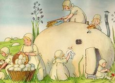 Mushroom people by Signe Aspelin (1881-1961)