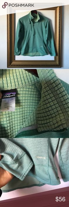 Mint green Patagonia quarter zip, M Gently used, small signs of wear along seams as seen in photo of wrist cuff above. Great color, comfortable lining. Perfect mid-layer. Patagonia Tops