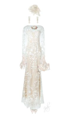 """Invisble Doll; Shades of White, Lace Gown"" by judymjohnson ❤ liked on Polyvore featuring Sophia Webster, Zuhair Murad, Elena Ghisellini, Emily & Ashley and Assael"