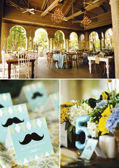Southern Gentleman Baby Shower with mustache graphics, ombre ruffled cakes, bow ties & more!