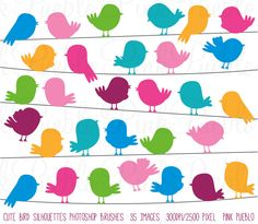 Cute Bird Silhouettes Photoshop Brushes Flying and by PinkPueblo