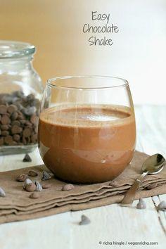 Mocha Milk Shake And Dark Chocolate Shake. 2 Shakes and a Giveaway. Vegan Glutenfree Recipe | Vegan Richa
