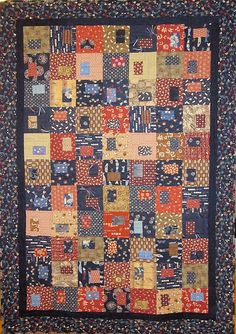 Patchwork Quilt  blue red and brown Japanese by kallistiquilts, $320.00