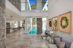 Real Build: Majestic, resort-style home in Sydney's north-west - The Interiors Addict Water Curtain, Property Values, Property Prices, Resort Style, North West, Oversized Mirror, Bathtub, Real Estate, Building