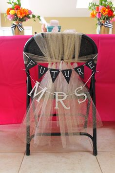 Bride's Chair at a shower or bachelorette party Bridal Shower Planning, Bridal Shower Party, Bridal Shower Decorations, Bridal Showers, Wedding Decorations, Wedding Ideas, Bridal Shower Chair, Bridal Shower Sayings, Best Bridal Shower Games