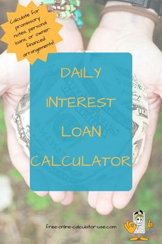The daily interest loan calculator on this page will help you to quickly calculate either simple or compounding interest for a specified period of time. Mortgage Calculator, Interest Calculator, Best Payday Loans, Loan Company, Get A Loan, Thing 1, Mortgage Tips, Loans For Bad Credit