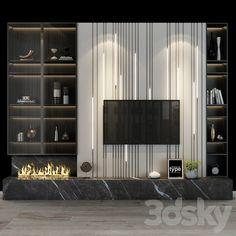 Tv Shelf, Shelves, Feature Wall Design, 3d Models, Living Room Tv, Modern Materials, Wall Tv, Wall Decor, House Design