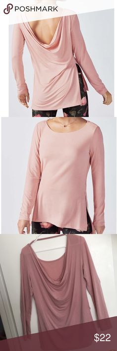 Fabletics Emerson L/S Jersey Tee Draper Boatneck M EUC - size medium. Care and size tags have been removed. Beautiful rose colored long sleeve cowl neck tee shirt by Fabletics. Washed 3-4 times always hang dried. See photos for signs of wear (just the start of a pill or two around the under arm). Love this top it is so soft! But it ran a little big and I finally made my goal weight so it needs a new home!  Styling: Draped, Cool Touch Jersey, Boatneck in Front and Cowl Design in Back, Side…