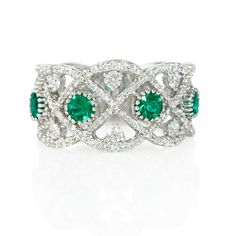 New: Vintage inspired ring featuring 4 round cut emeralds of exquisite color .50ctw and 159 round brilliant cut white diamonds .71ctw in 18k white gold. #coloroftheyear #trends #love $3,310
