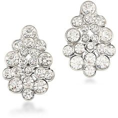 Carolee Silvertone Cluster Clip-On Earrings ($45) ❤ liked on Polyvore featuring jewelry, earrings, silver, silvertone earrings, charm jewelry, clip earrings, silvertone jewelry and silver tone charms