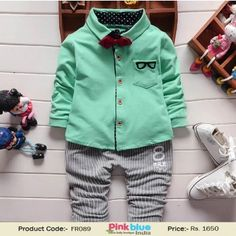 Stylish Baby Boys Green Shirt and Grey Pant Set - Kids Formal Outfits, Designer Infant Boy Bow Tie Shirt Set, New Clothing Collection 2016, Kids New Arrivals