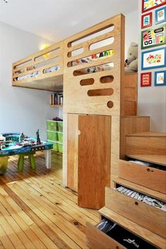 Love this Loft bed / bunk bed design for a tiny home via mommo design. I feel like I'd fall out of some of the lofts, but this looks safe. And a loft doesn't need to be just for kids! Click through for 9 other lofts! Cool Loft Beds, Bunk Beds With Stairs, Kids Bunk Beds, Bed Stairs, Play Beds, Modern Kids Bedroom, Kids Bedroom Furniture, Bedroom Ideas, Plywood Furniture