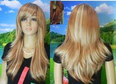 new Beautiful brown & light blonde mix long full wig | eBay
