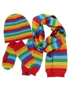 Molo Rainbow Stripe Hat, Fresh Scarf & Mitten Set from the Autumn/Winter 13 collection