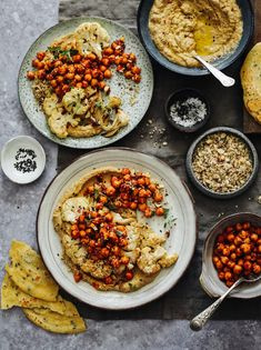 what will happen if you eat this every day ! Spice up your life! Roasted Cauliflower with Baba Ganoush Harissa Chickpeas Dukka and Flatbreads is. Cauliflower Steaks, Roasted Cauliflower, Cauliflower Recipes, Veggie Recipes, Vegetarian Recipes, Healthy Recipes, Paleo Vegan, Vegan Dinner Party, Smoker Cooking