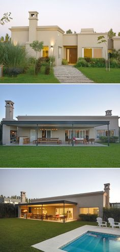 Arquinova Casas and Estudio Tomás y Fredi Llosa, House . Beach Bungalow Exterior, Dream House Exterior, Cafe Exterior, Ranch Exterior, Garage Exterior, Tyni House, House With Porch, Bungalow House Design, Modern House Design