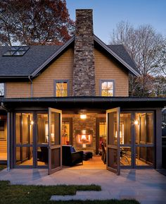 The combination of a screened porch and an outdoor fireplace is fantastic!