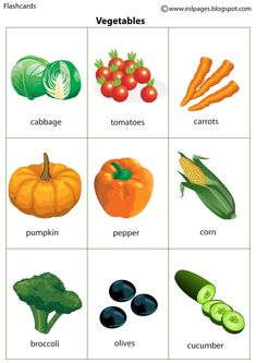 Esl Pages: Vegetables Learning English For Kids, Kids English, English Language Learning, English Words, English Lessons, English Grammar, Teaching English, Learn English, Food Flashcards