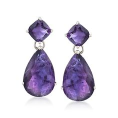 20.00 ct. t.w. Amethyst Drop Earrings in Sterling Silver They're HUGE and gorgeous!!!