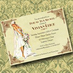 ART DECO INVITATION Wedding invitation, Baby Shower invitation, Save the Date, Custom Invite on Etsy, $20.00