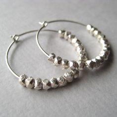 'Faceted Nuggets' Hoop Earrings. $27.00