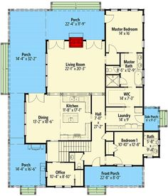 Exclusive Country House Plan with Two-Story Living Room and Porches Galore - floor plan - Main Level Keep it as one story. Get rid of the stairs and enlarge office adding a half bath next to it. House Plans One Story, Best House Plans, Country House Plans, Dream House Plans, Story House, Small House Plans, House Floor Plans, Country Houses, Modern Courtyard