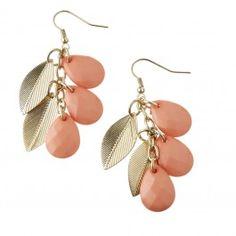 Coral Bead & Leaf Tassel Earrings Diva 2013