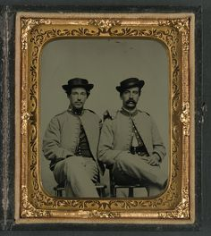 (c. 1862-1865) Private William Holland Liming of Co. A, 34th Mississippi Infantry Regiment, and unidentified soldier in same uniform